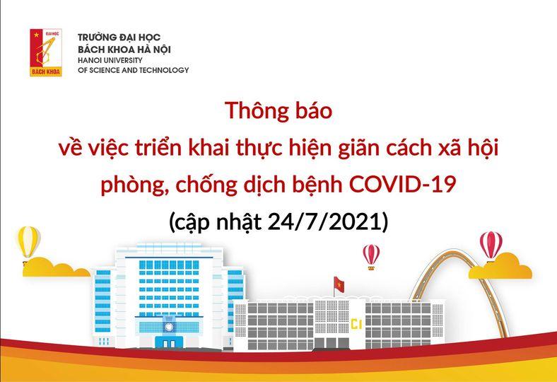 Thông báo: triển khai thực hiện giãn cách xã hội phòng, chống dịch bệnh COVID-19 (cập nhật 24/7/2021)